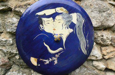 Boîte tibétaine bleue avec couvercle