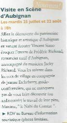 Visite en Scène d'Aubignan le mardi 22 août à 18 h - Découverte du patrimoine historique et artistique en venant écouter Vincent Siano accompagné du musicien Jacky Richaud, et de la guide-conférencière Jeanne Etcheberry