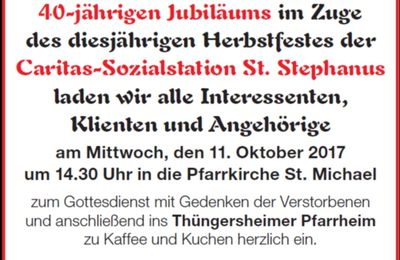 Veitshöchheimer Sozialstation feiert beim Herbstfest am 11. Oktober 40jähriges Jubiläum