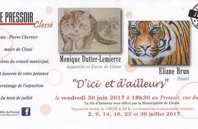 Monique Dutter-Lemierre et Eliane Brun vont exposer au Pressoir à Clessé.