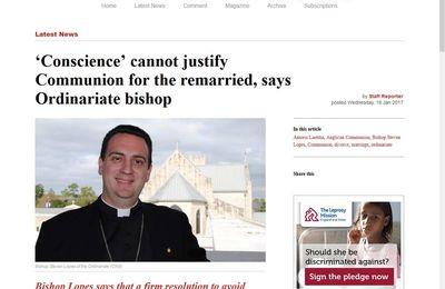 """La """"Conscience"""" ne peut pas justifier la communion pour les remariés, a déclaré l'évêque de l'Ordinariat"""