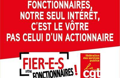 """CAMPAGNE DE LA FEDERATION CGT DES SERVICES PUBLICS """"FIER-E-S D'ETRE FONCTIONNAIRES"""""""