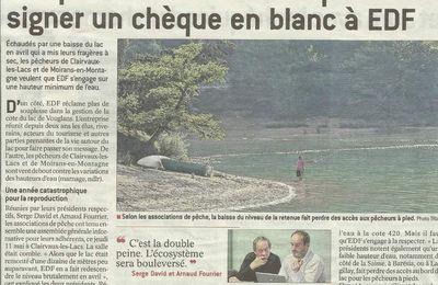 Inquiétudes concernant la cote du lac de Vouglans