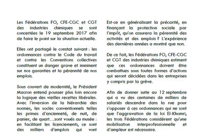 Appel unitaire des branches chimie F.O. -  C.F.E.-C.G.C. et CGT