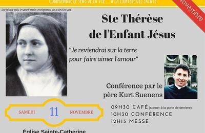 Eglise Sainte Catherine : Conférence du Père Kurt sur Sainte Thérèse de l'Enfant Jésus et de la Sainte Face