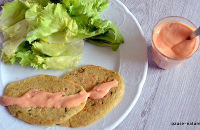 Galettes d'avoine-carotte-haricot vert et leur sauce rose