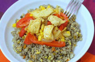 Poêlée de poulet, poivrons et maïs au cumin