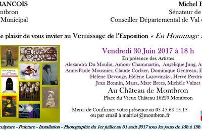 """Exposition de groupe """"En hommage à ..."""" Chateau de Montbron du 1er juillet au 31 août"""
