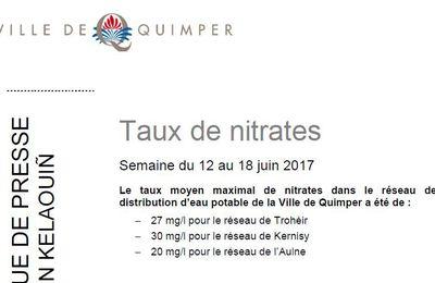 Taux de nitrates à Quimper du 12 au 18 juin