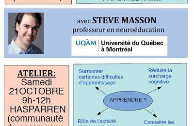 Conférence et Atelier - Comprendre le cerveau pour mieux apprendre et enseigner - Steve Masson - 20 octobre 2017