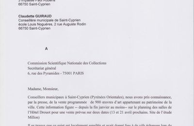 Lettre d'alerte à la Commission Scientifique Nationale des Collections
