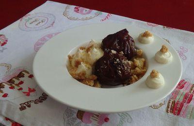 Figues de Solliès confites dans du Banyuls, crémeux vanille et crumble