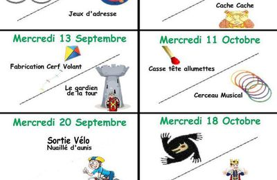 Programme Mercredis Septembre-Octobre 2017