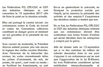Déclaration  des  Fédérations  FO,  CFE - CGC  et  CGT  des  industries  chimiques - NON AUX ORDONNANCES !
