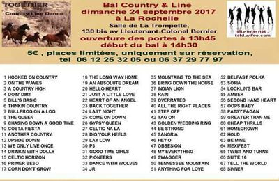 Playlist bal country à la Rochelle le 23 septembre 2017