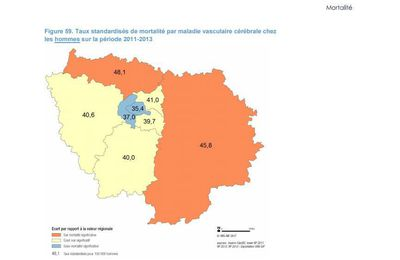 Ile de France : les hommes meurent plus de maladie  vasculaire cérébrale en Seine et Marne et dans le Val d'Oise !