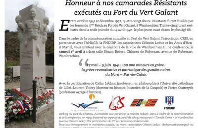 Hommage aux résistants fusillés au fort du Vert-Galant : une conférence à Wambrechies le 1er avril