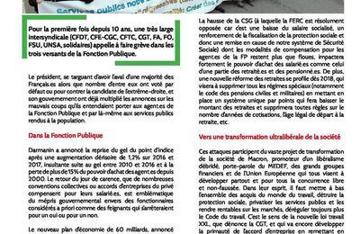Grève fonction publique du 10 octobre : le tract de la FERC-CGT