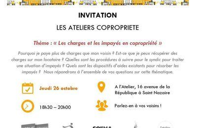 """Atelier copropriété """"Les charges et les impayés en copropriété"""" - 26 octobre à Saint-Nazaire"""