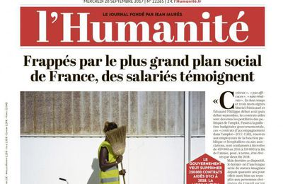 A la une de l'Humanité (20-09-17)