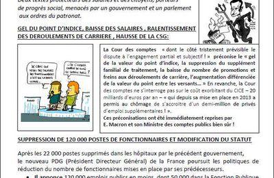 CGT Centre hospitalier de Morlaix: fonctionnaires, cibles de Macron, la riposte le 12 septembre!