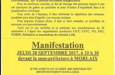 Nouvelle manifestation pour le pouvoir d'achat des retraités, contre la hausse de la CSG et le gel des pensions le 28 septembre à Morlaix