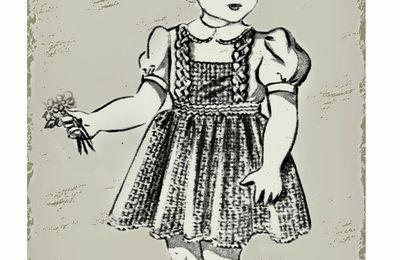 La petite fille au bouquet .