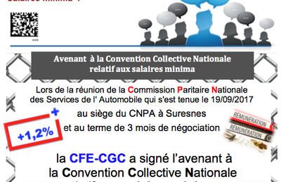 Convention Collective : accord salarial applicable au 1er janvier 2018
