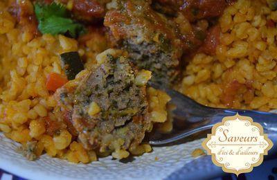 Boulgour aux Légumes du soleil, Köfte aux Epinards en Sauce Tomate