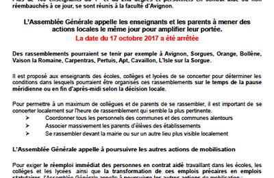 Contrats aidés: action mardi 17 Octobre