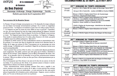 Bulletin paroissial du 23 septembre au 8 octobre 2017