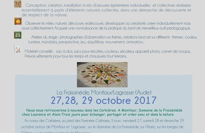 Stage land art d'automne du 26 au 29 octobre 2017