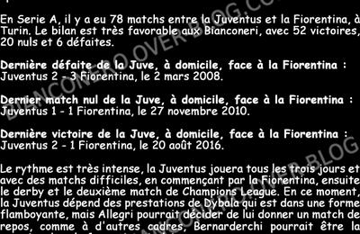 Avant Juve-Fiorentina (20/09/17), bilan de la Juve à Turin