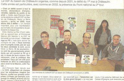 1er mai à Chateaulin : 15 ans de défilé et la CGT toujours mobilisée !