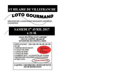 St Hilaire / LOTO GOURMAND organisé par  : ASSOCIATION SOLIDARITE SAINTONGE-CASAMANCE.