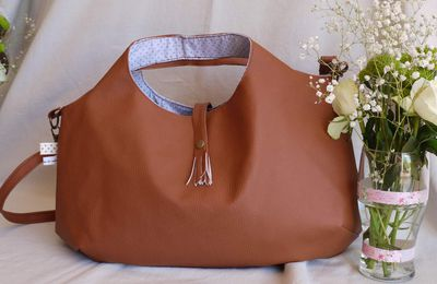 Grand sac simili cuir camel