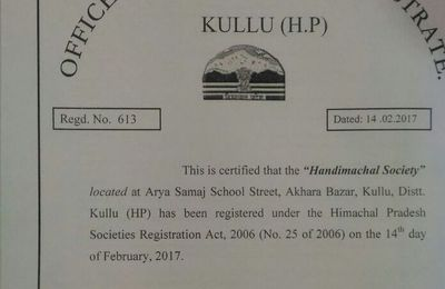 The Handimachal Society is finally registered in India