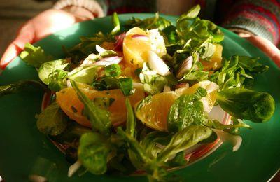 Salade de lentilles corail, orange et oignons nouveaux