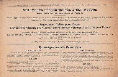 Catalogue 1898 - Dos de couverture