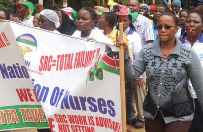 Taita-Taveta striking nurses take a suprise storm to governor Mruttu's backyard