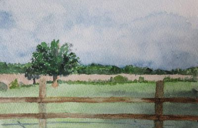 "Aquarelle ""pâturages de Normandie"""
