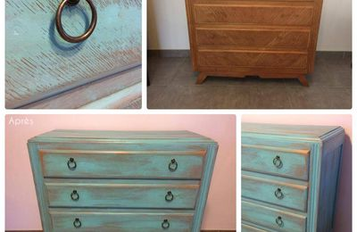 COMMODE SCANDINAVE / BLEU EXOTIQUE PATINE