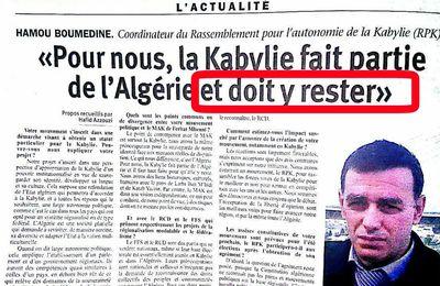 Hamou Boumedine du RPK : La Kabylie fait partie de l'Algérie et il faut tout faire pour qu'elle y reste. KDirect - Actualité