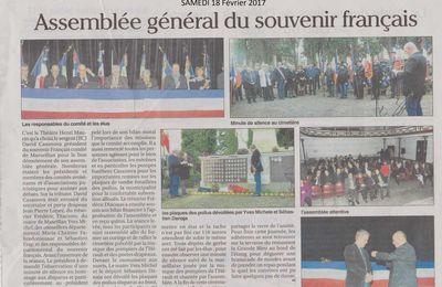 ASSEMBLEE GENERALE  SOUVENIR FRANCAIS MARSEILLAN  18/02/2017