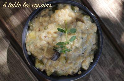 Orge perlé façon risotto crémeux, aux petits légumes, pécorino et marjolaine
