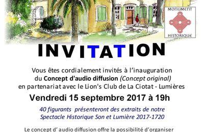 "AGENDA - Inauguration du ""Concept original"" d'audio diffusion le vendredi 15 septembre 2017 à19h"
