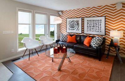 Một gam màu mới cho không gian phòng khách – Màu Cam.