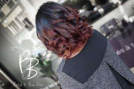 Ombré hair rouge violine Perles et Bien-être
