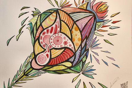 Fleur, texte et dessin