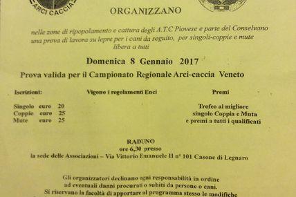 Prima Prova 3 Campionato Regionale Veneto 2017 Cani da Seguita - Domenica 8 Gennaio